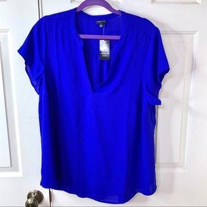 NWT 1X TORRID CHALLIS BRIGHT BLUE TOP